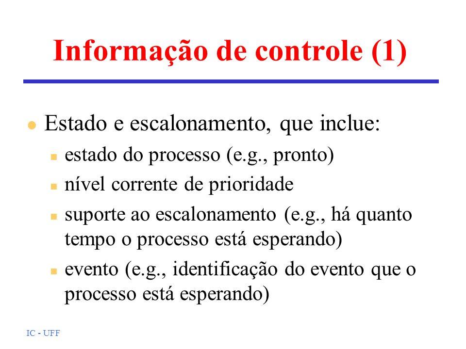 IC - UFF Informação de controle (1) l Estado e escalonamento, que inclue: n estado do processo (e.g., pronto) n nível corrente de prioridade n suporte