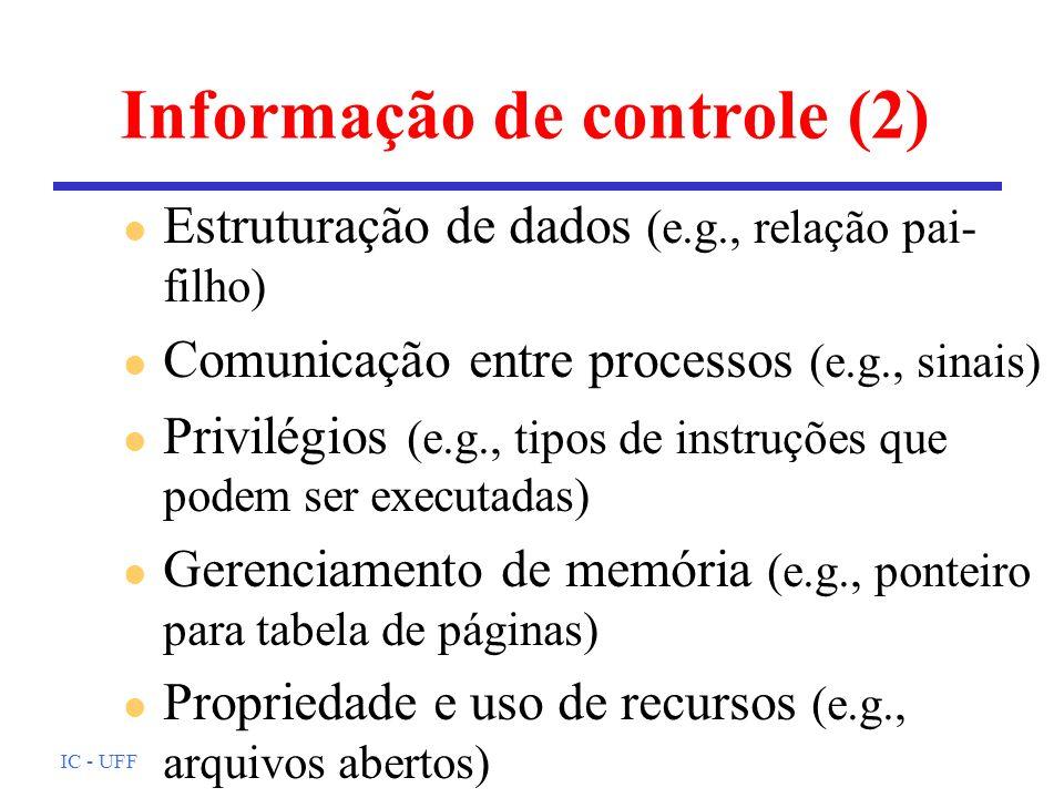 IC - UFF Informação de controle (2) l Estruturação de dados (e.g., relação pai- filho) l Comunicação entre processos (e.g., sinais) l Privilégios (e.g