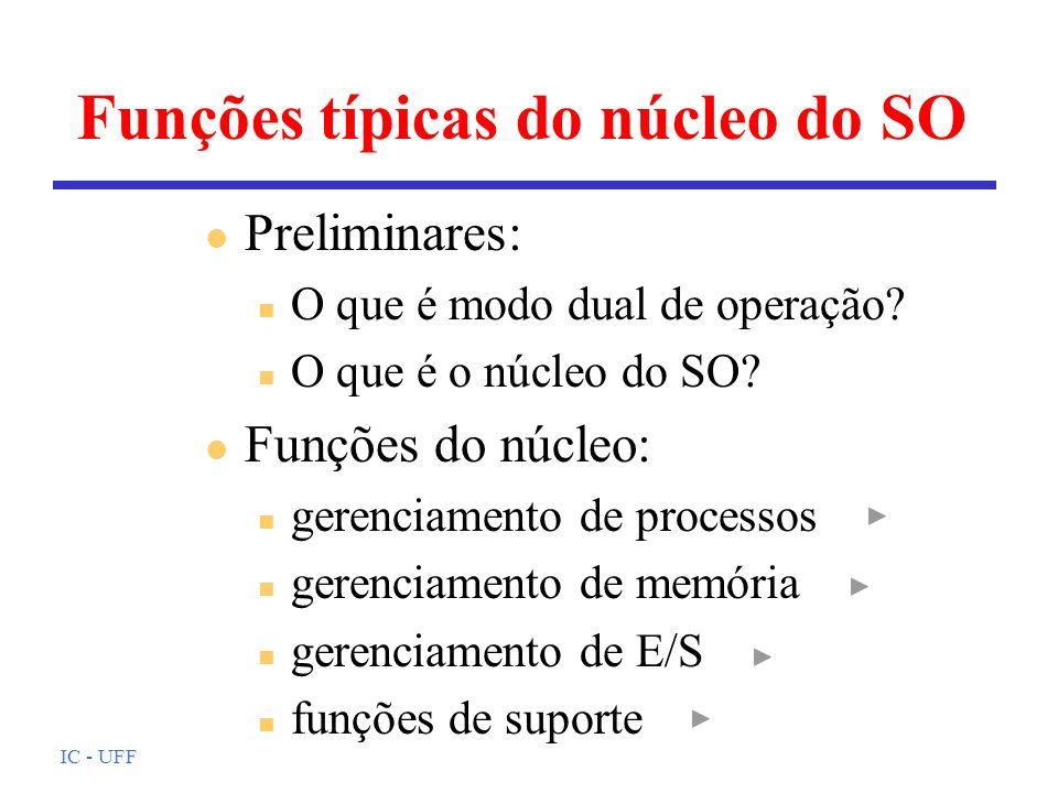 IC - UFF Funções típicas do núcleo do SO l Preliminares: n O que é modo dual de operação? n O que é o núcleo do SO? l Funções do núcleo: n gerenciamen