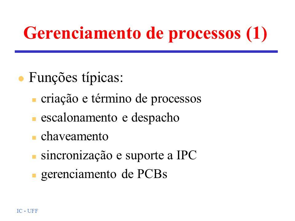 IC - UFF Gerenciamento de processos (1) n criação e término de processos n escalonamento e despacho n chaveamento n sincronização e suporte a IPC n ge