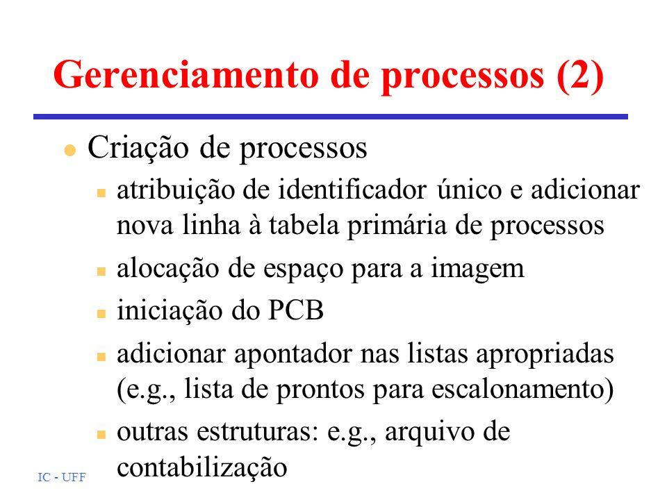 IC - UFF Gerenciamento de processos (2) n atribuição de identificador único e adicionar nova linha à tabela primária de processos n alocação de espaço