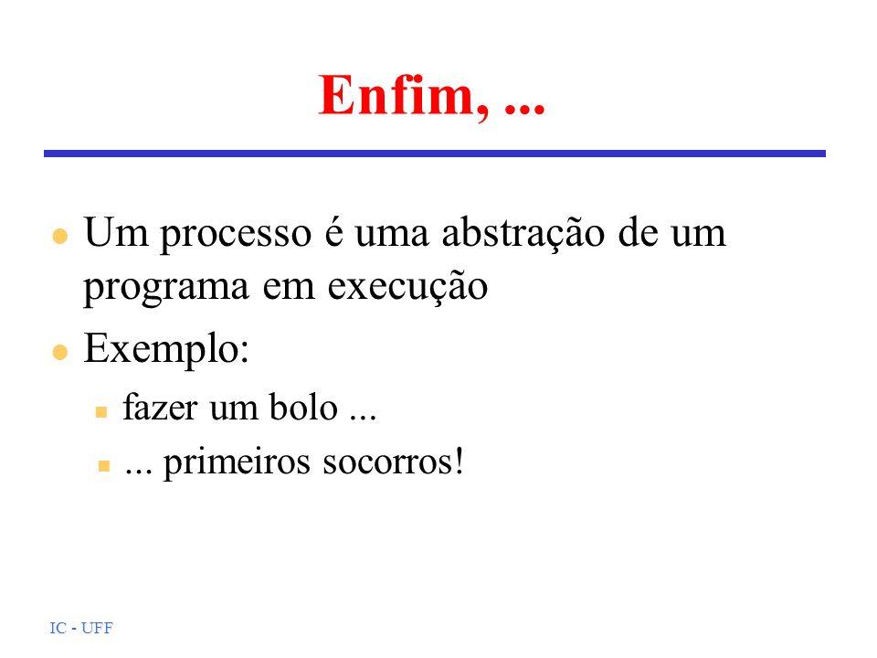 IC - UFF Enfim,... l Um processo é uma abstração de um programa em execução l Exemplo: n fazer um bolo... n... primeiros socorros!