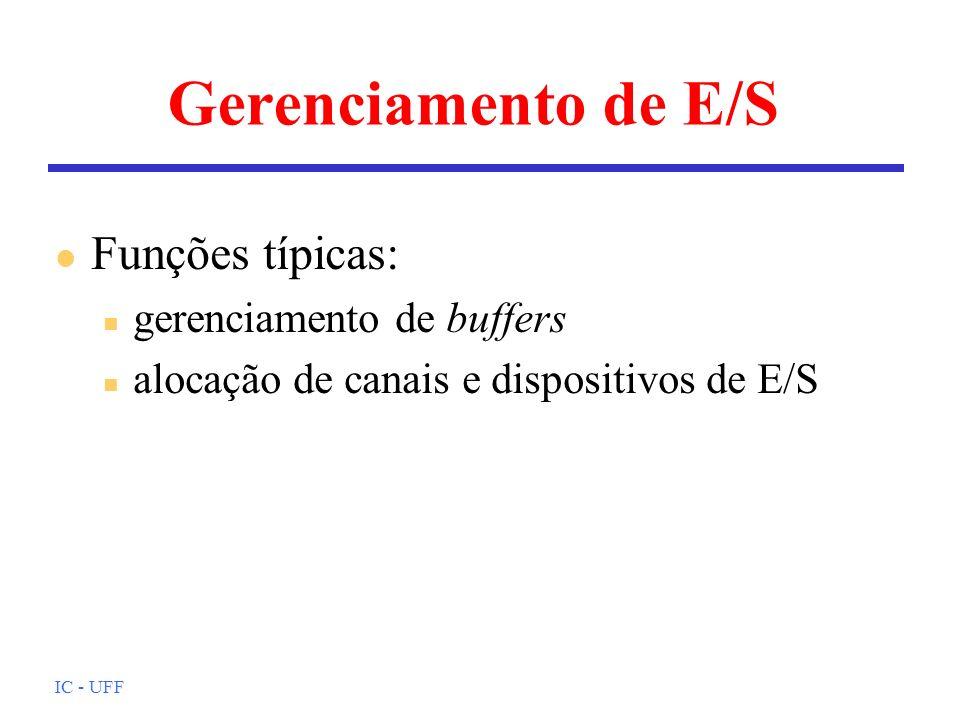 IC - UFF Gerenciamento de E/S l Funções típicas: n gerenciamento de buffers n alocação de canais e dispositivos de E/S