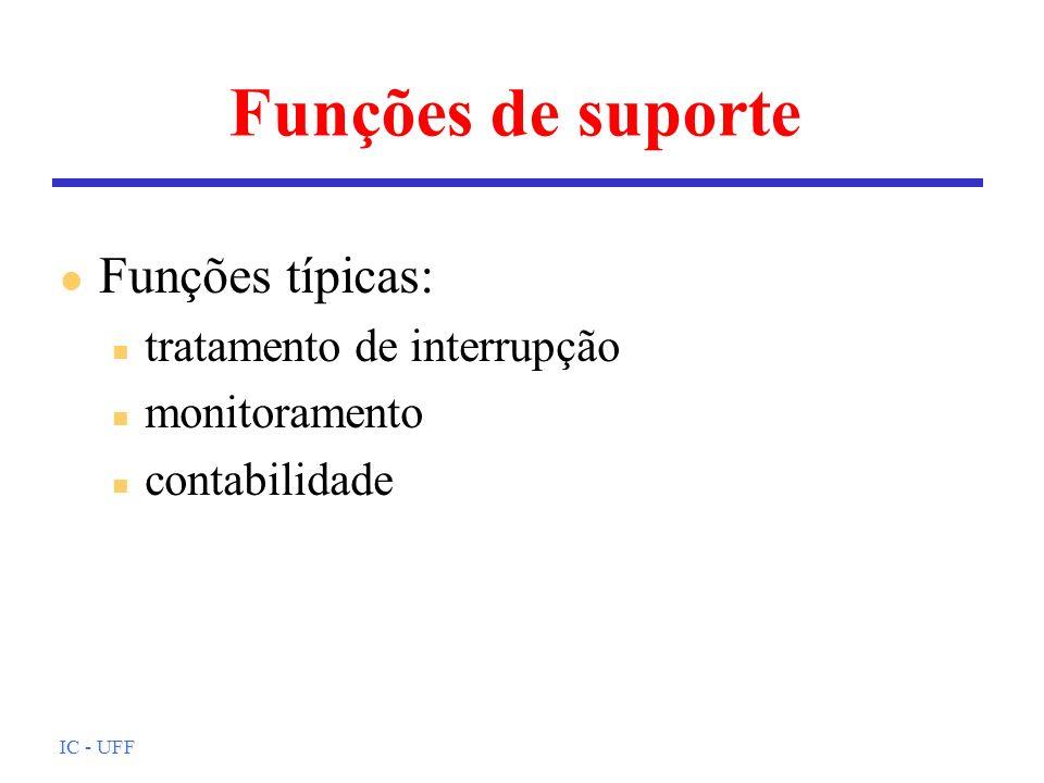 IC - UFF Funções de suporte l Funções típicas: n tratamento de interrupção n monitoramento n contabilidade
