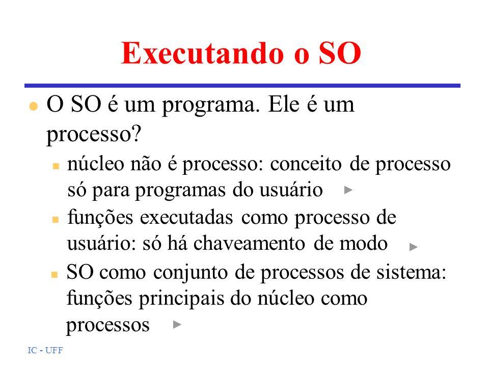 IC - UFF Executando o SO l O SO é um programa. Ele é um processo? n núcleo não é processo: conceito de processo só para programas do usuário n funções