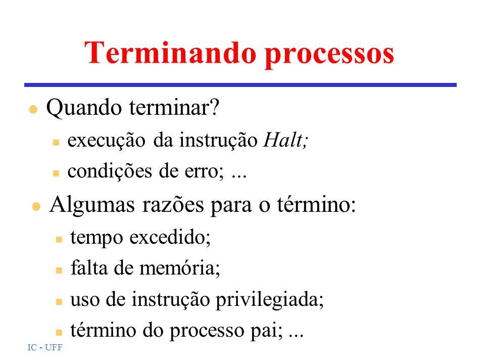 IC - UFF Terminando processos l Quando terminar? n execução da instrução Halt; n condições de erro;... l Algumas razões para o término: n tempo excedi