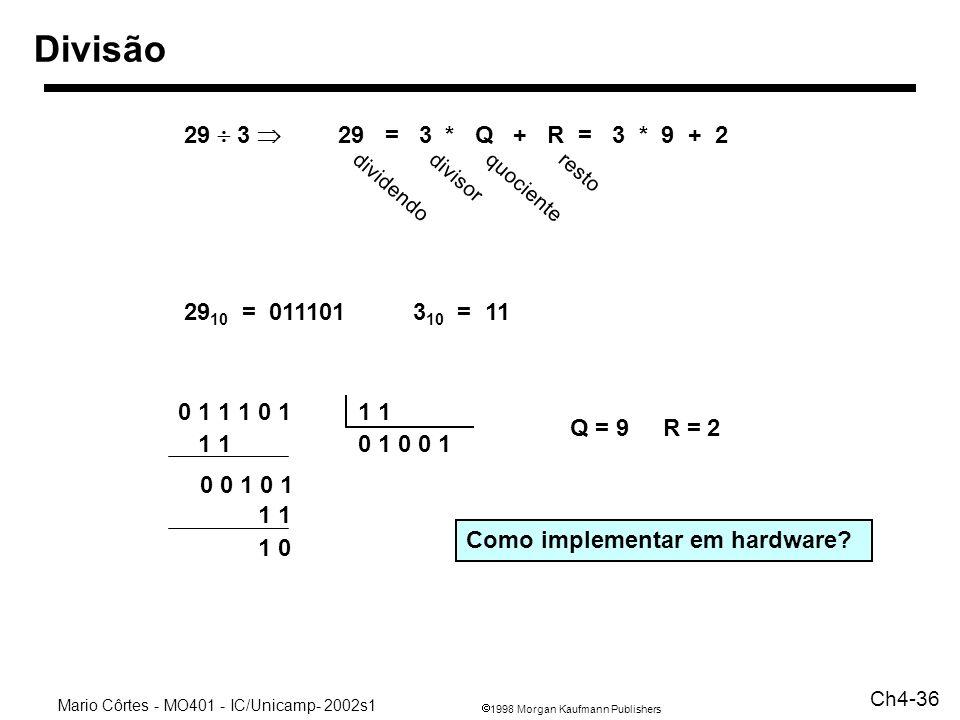 1998 Morgan Kaufmann Publishers Mario Côrtes - MO401 - IC/Unicamp- 2002s1 Ch4-36 Divisão 29 3 29 = 3 * Q + R = 3 * 9 + 2 dividendo divisor quociente r