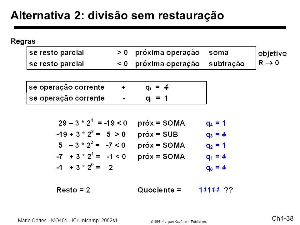 1998 Morgan Kaufmann Publishers Mario Côrtes - MO401 - IC/Unicamp- 2002s1 Ch4-38 Alternativa 2: divisão sem restauração Regras