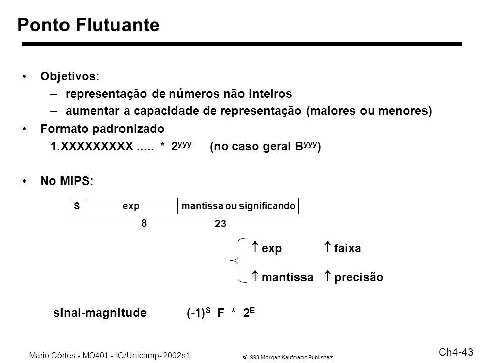1998 Morgan Kaufmann Publishers Mario Côrtes - MO401 - IC/Unicamp- 2002s1 Ch4-43 Ponto Flutuante Objetivos: –representação de números não inteiros –au