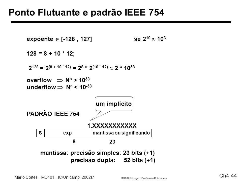 1998 Morgan Kaufmann Publishers Mario Côrtes - MO401 - IC/Unicamp- 2002s1 Ch4-44 Ponto Flutuante e padrão IEEE 754 Sexpmantissa ou significando 8 23 e
