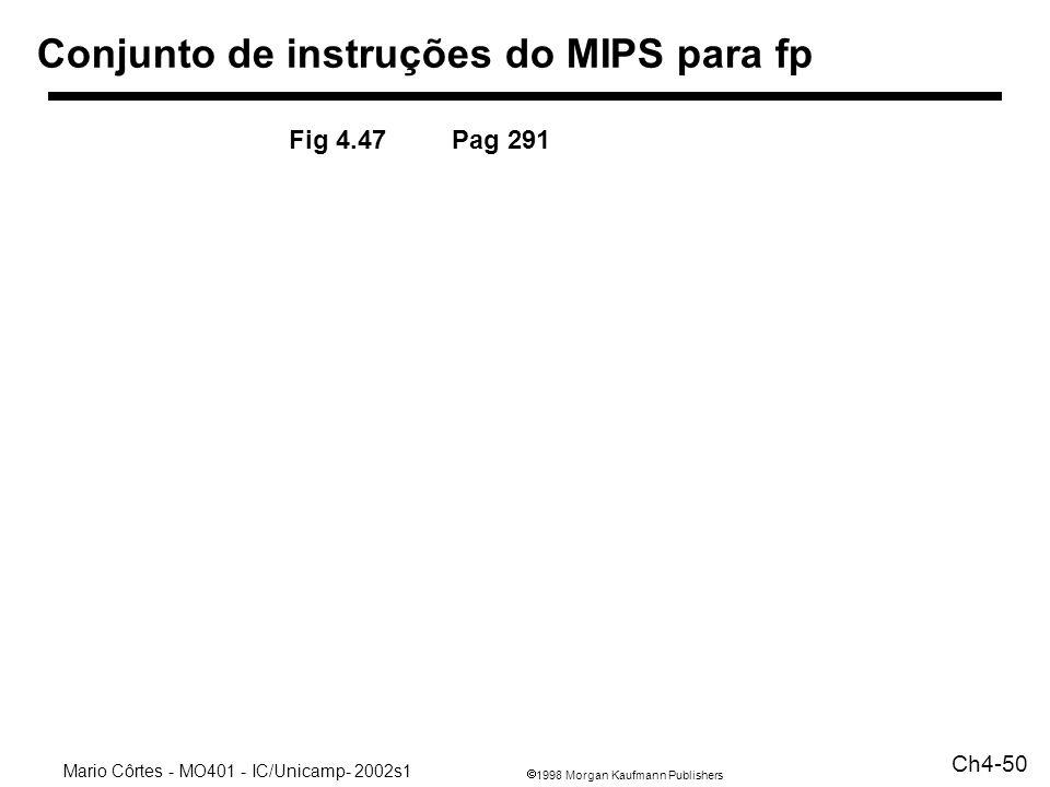 1998 Morgan Kaufmann Publishers Mario Côrtes - MO401 - IC/Unicamp- 2002s1 Ch4-50 Conjunto de instruções do MIPS para fp Fig 4.47 Pag 291