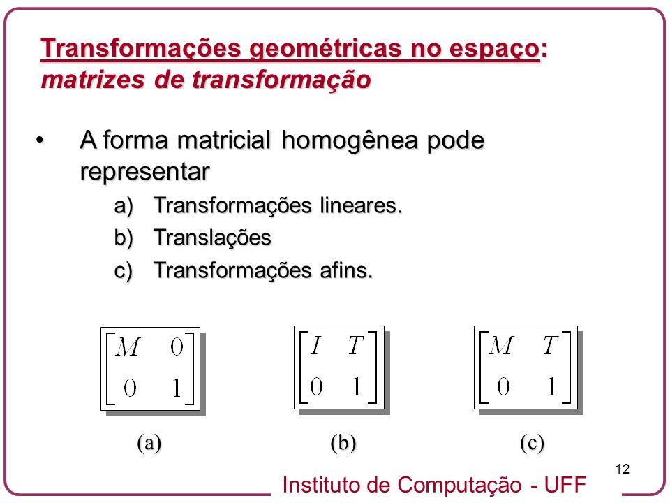 Instituto de Computação - UFF 12 A forma matricial homogênea pode representarA forma matricial homogênea pode representar a)Transformações lineares. b