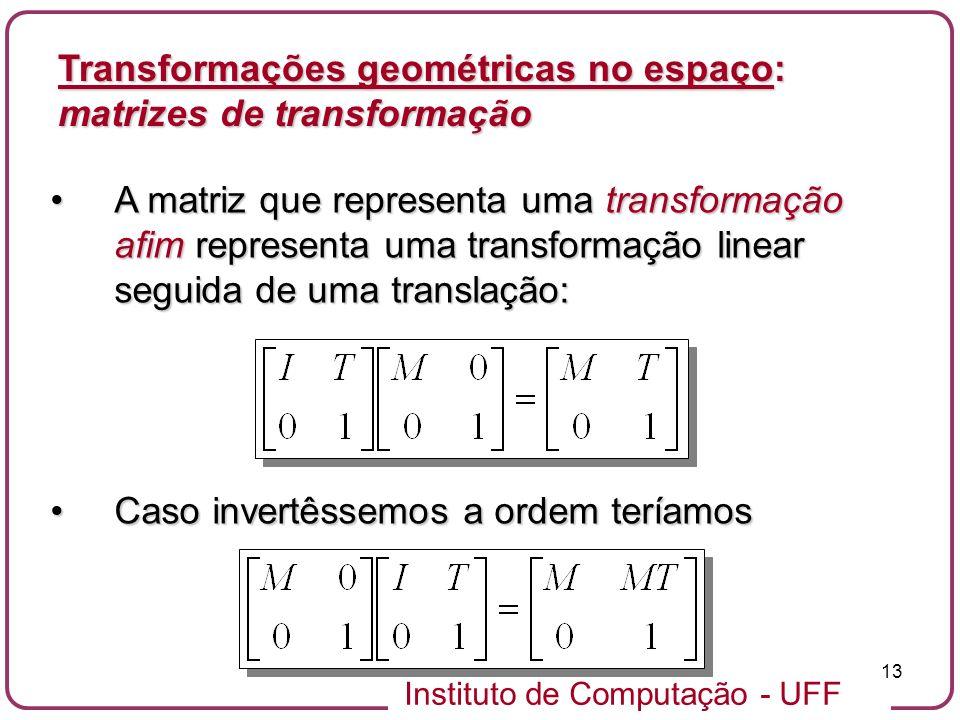 Instituto de Computação - UFF 13 A matriz que representa uma transformação afim representa uma transformação linear seguida de uma translação:A matriz