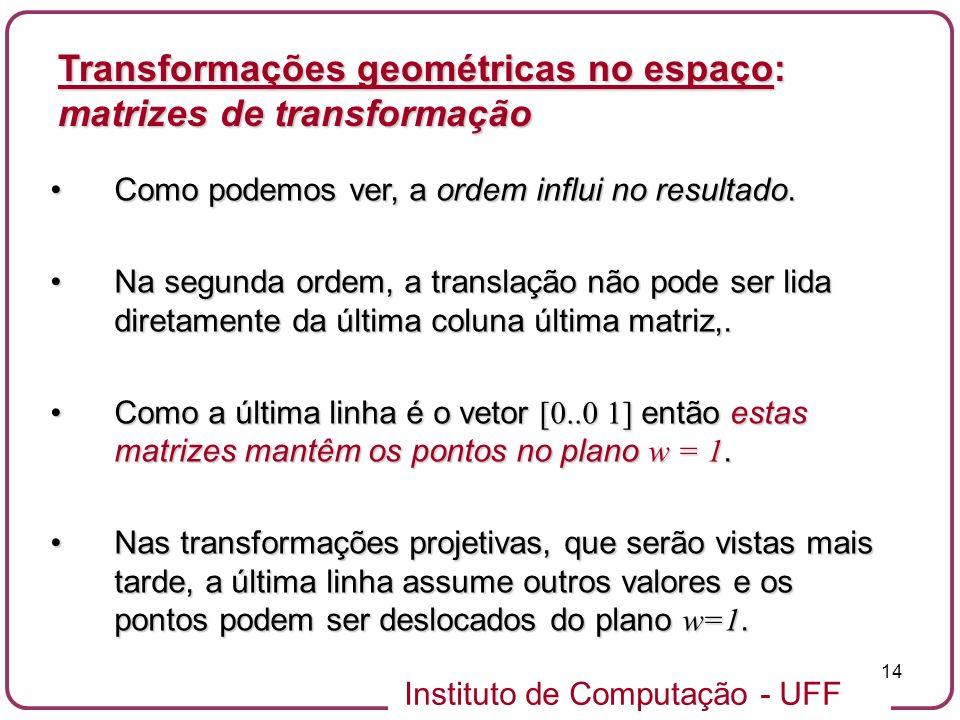 Instituto de Computação - UFF 14 Como podemos ver, a ordem influi no resultado.Como podemos ver, a ordem influi no resultado. Na segunda ordem, a tran