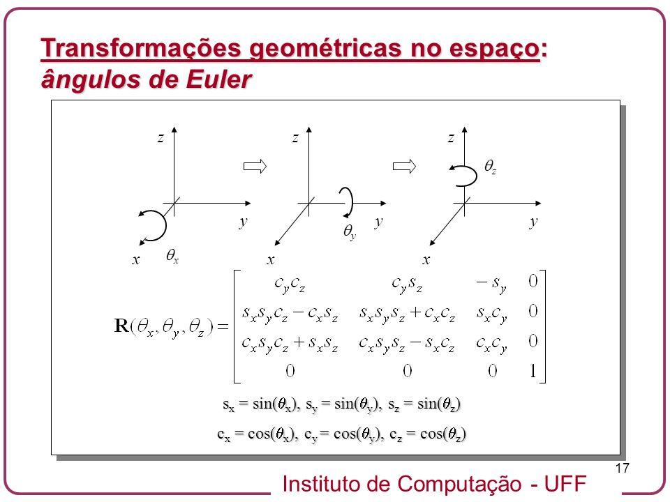 Instituto de Computação - UFF 17 Transformações geométricas no espaço: ângulos de Euler x x y z y x y z z x y z s x = sin( x ), s y = sin( y ), s z =