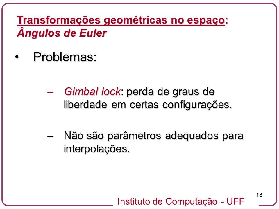 Instituto de Computação - UFF 18 Problemas:Problemas: –Gimbal lock: perda de graus de liberdade em certas configurações. –Não são parâmetros adequados