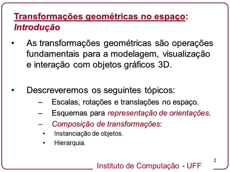 Instituto de Computação - UFF 2 As transformações geométricas são operações fundamentais para a modelagem, visualização e interação com objetos gráfic