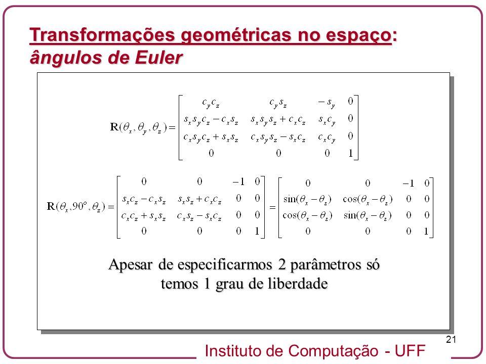 Instituto de Computação - UFF 21 Transformações geométricas no espaço: ângulos de Euler Apesar de especificarmos 2 parâmetros só temos 1 grau de liber