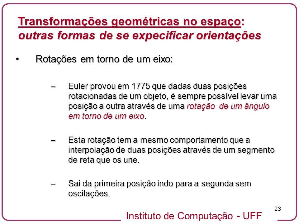 Instituto de Computação - UFF 23 Rotações em torno de um eixo:Rotações em torno de um eixo: –Euler provou em 1775 que dadas duas posições rotacionadas