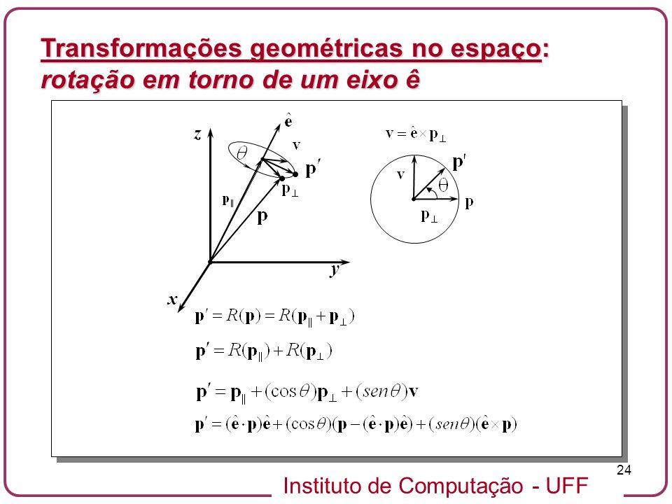 Instituto de Computação - UFF 24 x y z Transformações geométricas no espaço: rotação em torno de um eixo ê