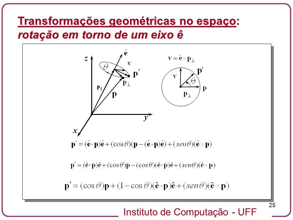 Instituto de Computação - UFF 25 x y z Transformações geométricas no espaço: rotação em torno de um eixo ê