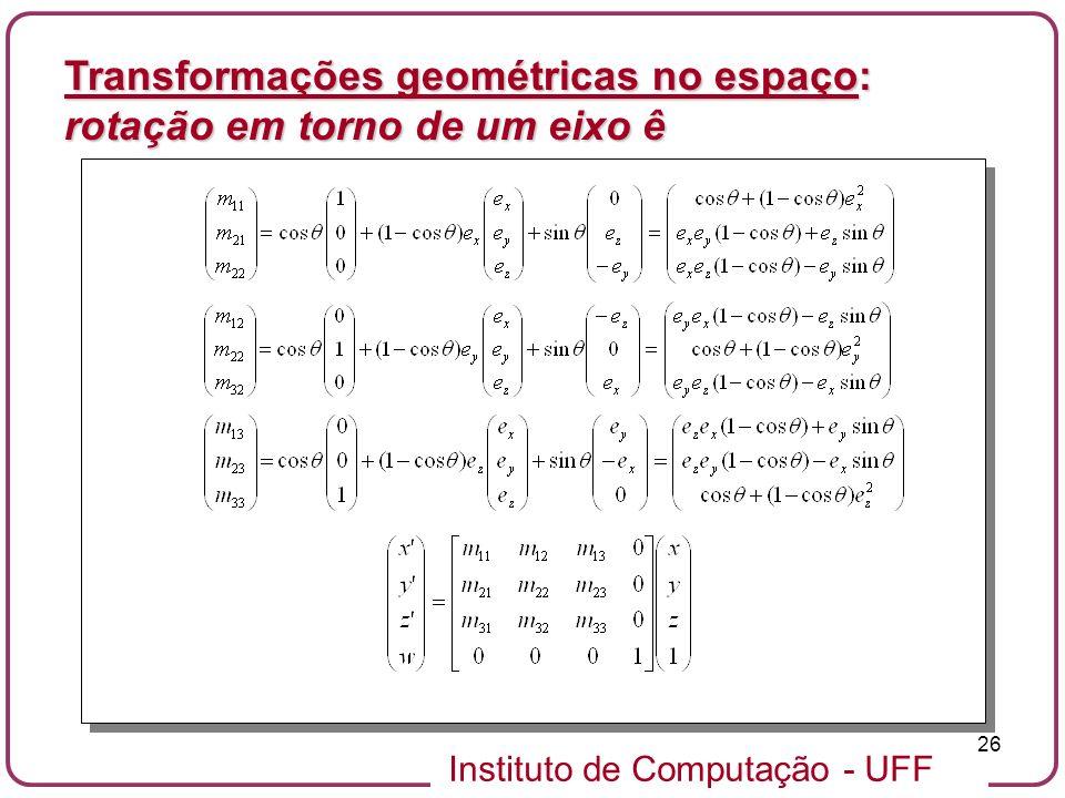 Instituto de Computação - UFF 26 Transformações geométricas no espaço: rotação em torno de um eixo ê