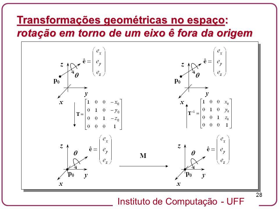 Instituto de Computação - UFF 28 x y z x y z p0p0 p0p0 x y z p0p0 M x y z p0p0 Transformações geométricas no espaço: rotação em torno de um eixo ê for