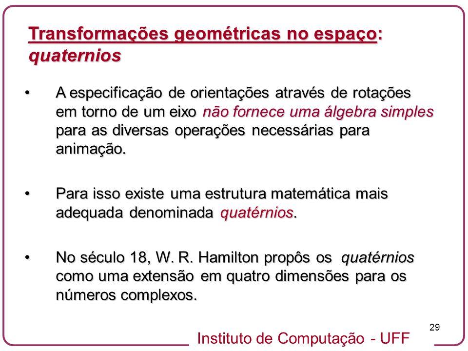 Instituto de Computação - UFF 29 A especificação de orientações através de rotações em torno de um eixo não fornece uma álgebra simples para as divers