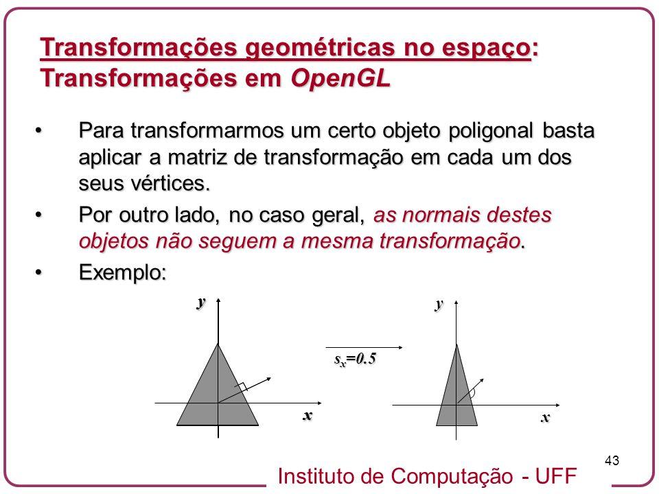 Instituto de Computação - UFF 43 Para transformarmos um certo objeto poligonal basta aplicar a matriz de transformação em cada um dos seus vértices.Pa