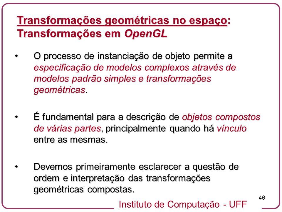 Instituto de Computação - UFF 46 O processo de instanciação de objeto permite a especificação de modelos complexos através de modelos padrão simples e