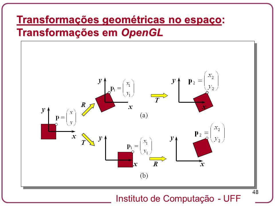 Instituto de Computação - UFF 48 Transformações geométricas no espaço: Transformações em OpenGL x y R x y T x y R x y x y T (a) (b)