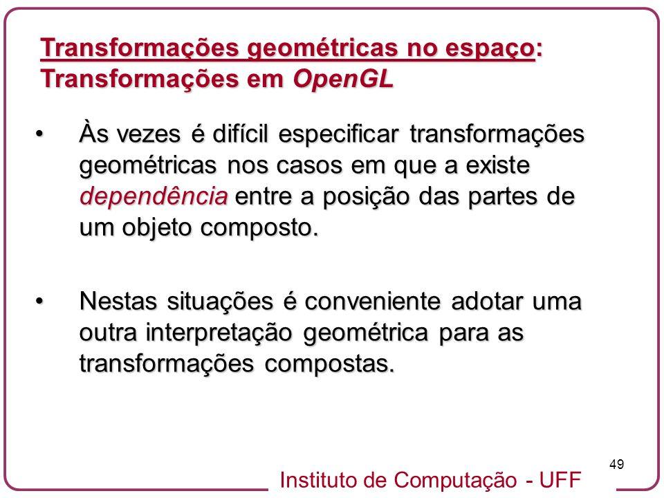 Instituto de Computação - UFF 49 Às vezes é difícil especificar transformações geométricas nos casos em que a existe dependência entre a posição das p