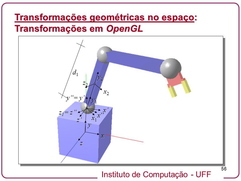Instituto de Computação - UFF 56 Transformações geométricas no espaço: Transformações em OpenGL x2x2x2x2 y z2z2z2z2 x z y2y2y2y2 x y1y1y1y1 d1d1d1d1 x
