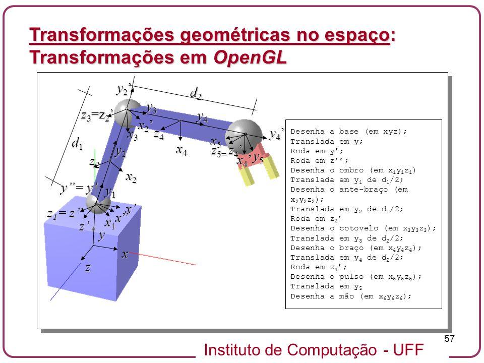 Instituto de Computação - UFF 57 Transformações geométricas no espaço: Transformações em OpenGL x2x2x2x2 y z2z2z2z2 x z y2y2y2y2 x4x4x4x4 y4y4y4y4 z4z