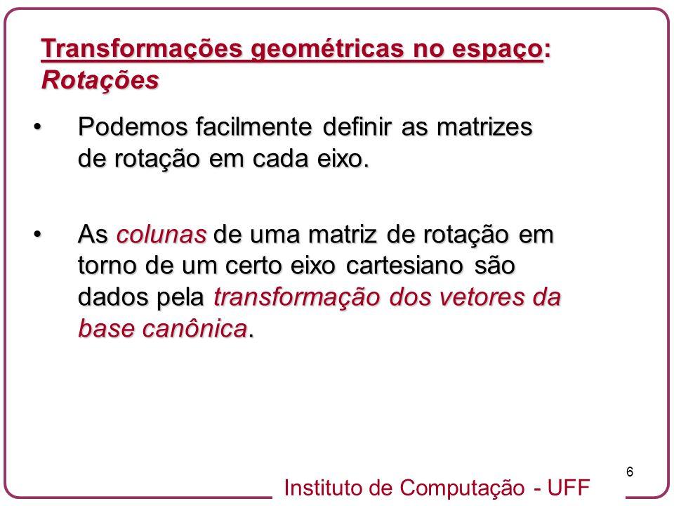 Instituto de Computação - UFF 6 Podemos facilmente definir as matrizes de rotação em cada eixo.Podemos facilmente definir as matrizes de rotação em ca