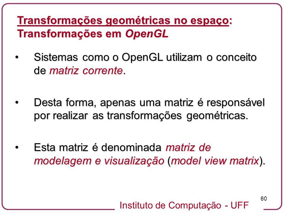 Instituto de Computação - UFF 60 Sistemas como o OpenGL utilizam o conceito de matriz corrente.Sistemas como o OpenGL utilizam o conceito de matriz co