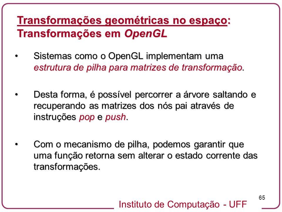 Instituto de Computação - UFF 65 Sistemas como o OpenGL implementam uma estrutura de pilha para matrizes de transformação.Sistemas como o OpenGL imple