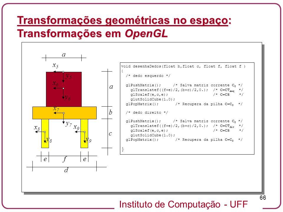 Instituto de Computação - UFF 66 Transformações geométricas no espaço: Transformações em OpenGL x5x5 y5y5 y6y6 y7y7 y8y8 y9y9 x6x6 x7x7 x8x8 x9x9 a b