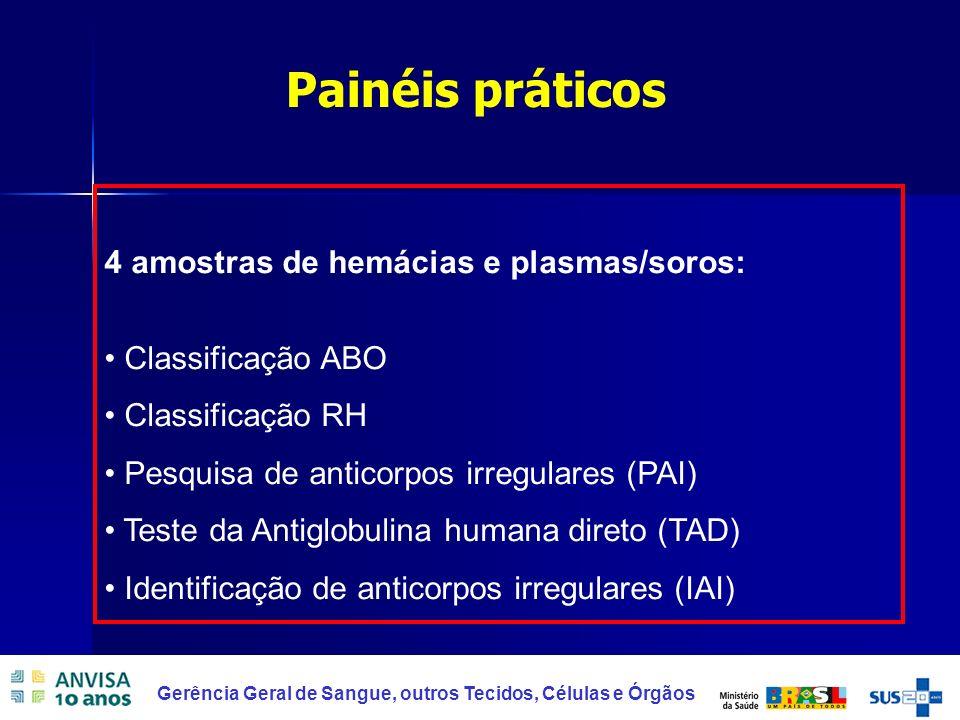 16 Gerência Geral de Sangue, outros Tecidos, Células e Órgãos 4 amostras de hemácias e plasmas/soros: Classificação ABO Classificação RH Pesquisa de a