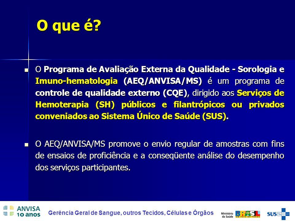 2 Gerência Geral de Sangue, outros Tecidos, Células e Órgãos O Programa de Avaliação Externa da Qualidade - Sorologia e Imuno-hematologia (AEQ/ANVISA/