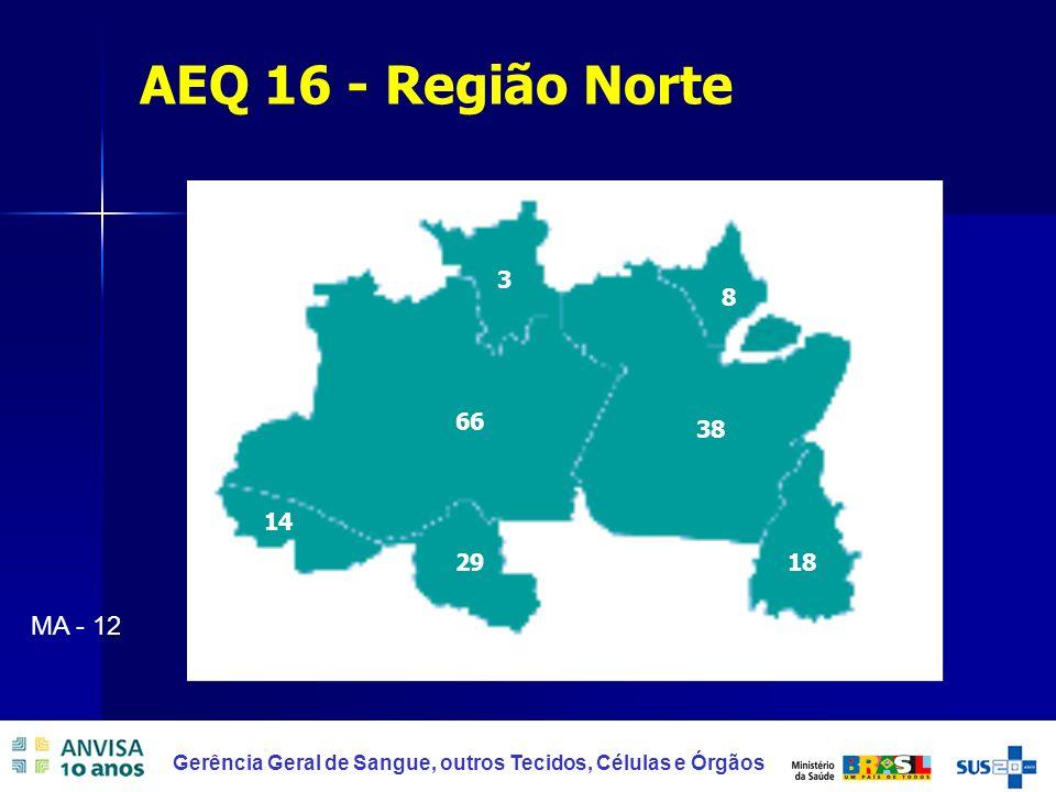 30 AEQ 16 - Região Norte 29 66 38 8 18 3 14 MA - 12