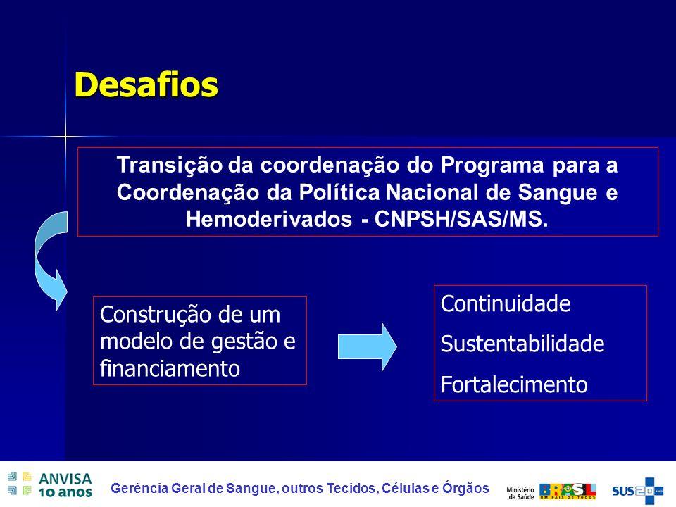 46 Gerência Geral de Sangue, outros Tecidos, Células e Órgãos Desafios Transição da coordenação do Programa para a Coordenação da Política Nacional de