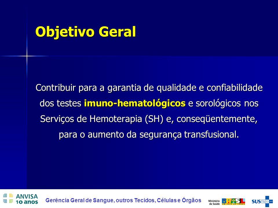 5 Gerência Geral de Sangue, outros Tecidos, Células e Órgãos Objetivo Geral Contribuir para a garantia de qualidade e confiabilidade dos testes imuno-