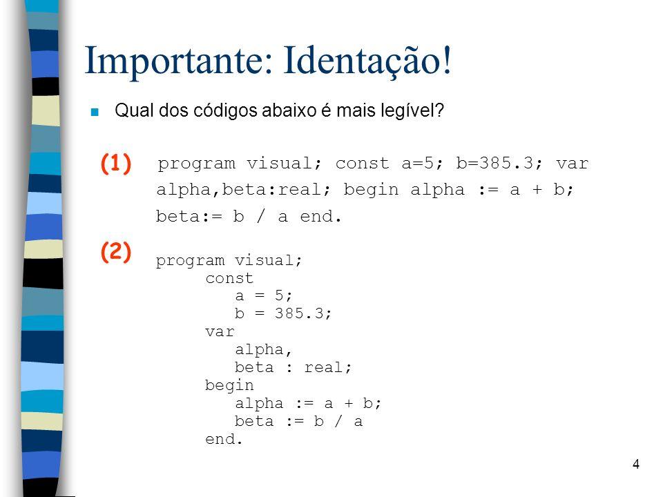 Linguagem PASCAL4 Importante: Identação! n Qual dos códigos abaixo é mais legível? program visual; const a=5; b=385.3; var alpha,beta:real; begin alph