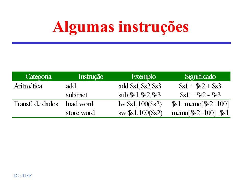 IC - UFF Arquivo objeto (cont.) l Tabela de símbolos: símbolos que não foram resolvidos (referências externas) l Informação para depuração: possibilita associação entre instruções em C e instruções de máquina; facilita a leitura de estruturas de dados