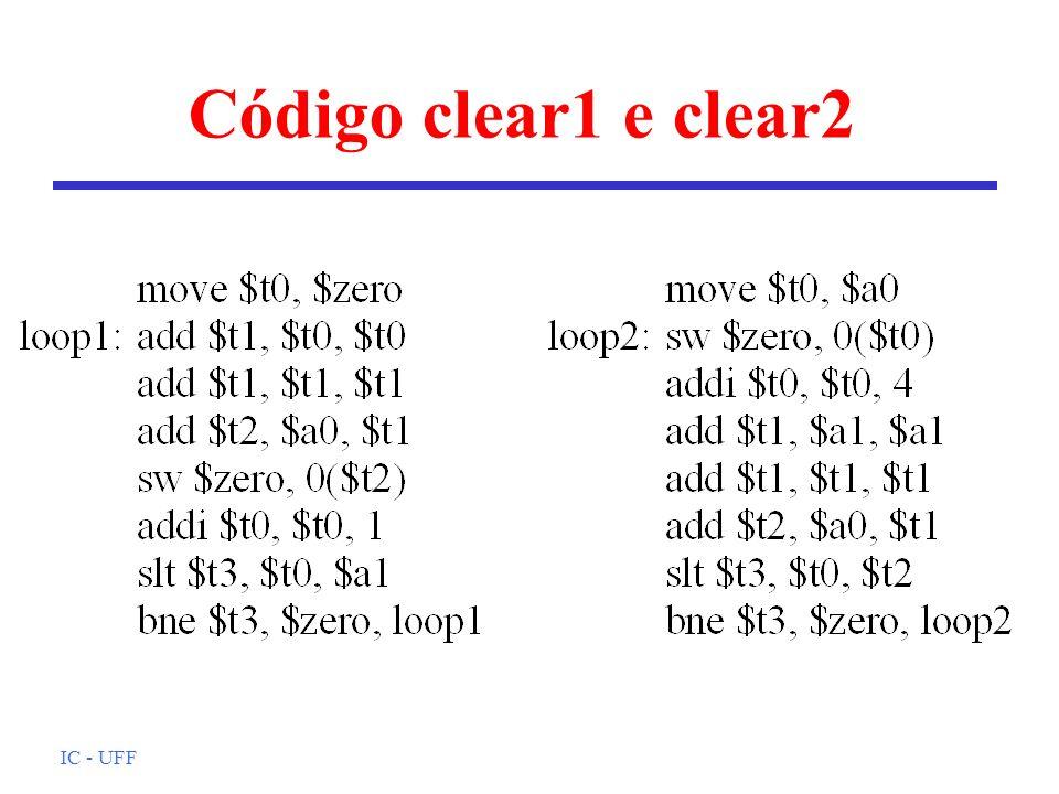 IC - UFF Código clear1 e clear2