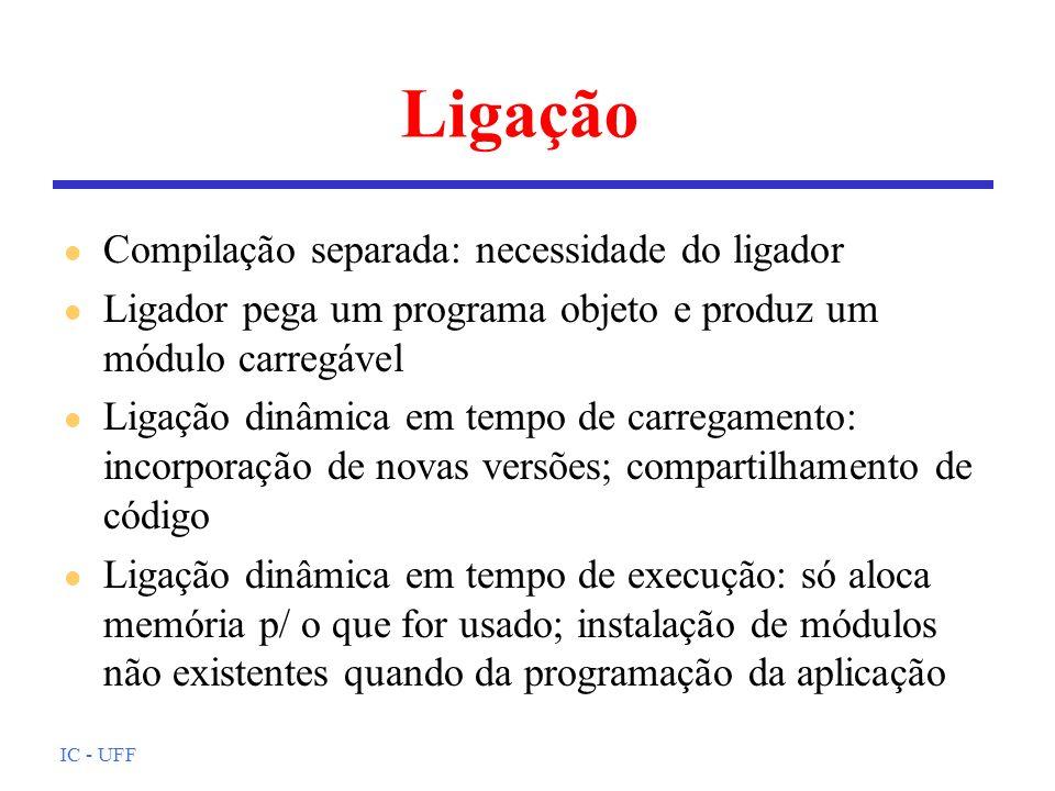 IC - UFF Ligação l Compilação separada: necessidade do ligador l Ligador pega um programa objeto e produz um módulo carregável l Ligação dinâmica em t