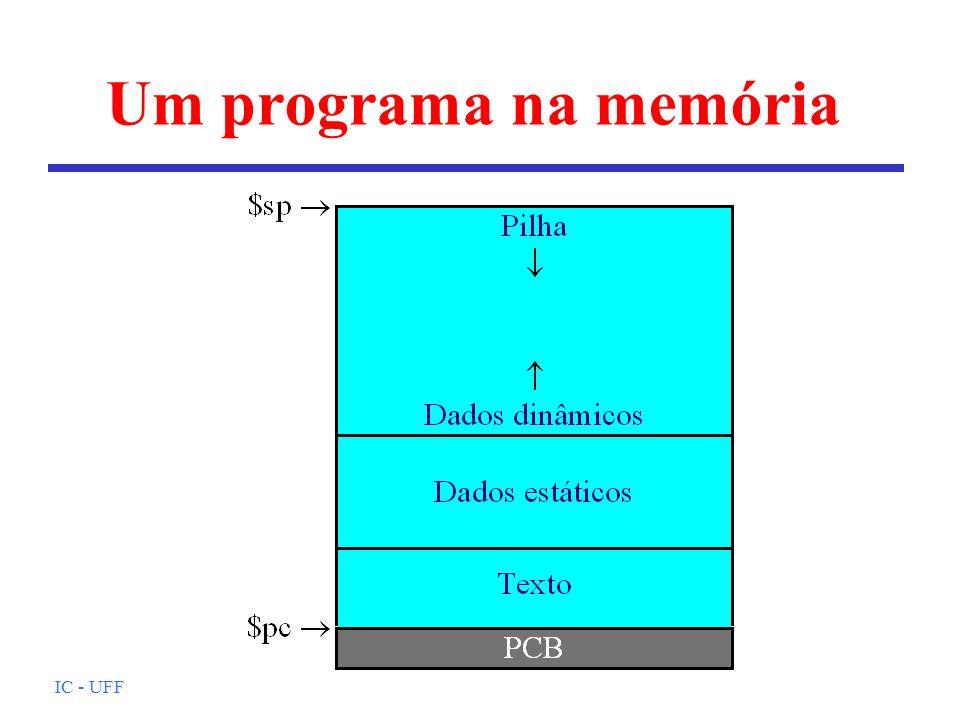 IC - UFF Um programa na memória