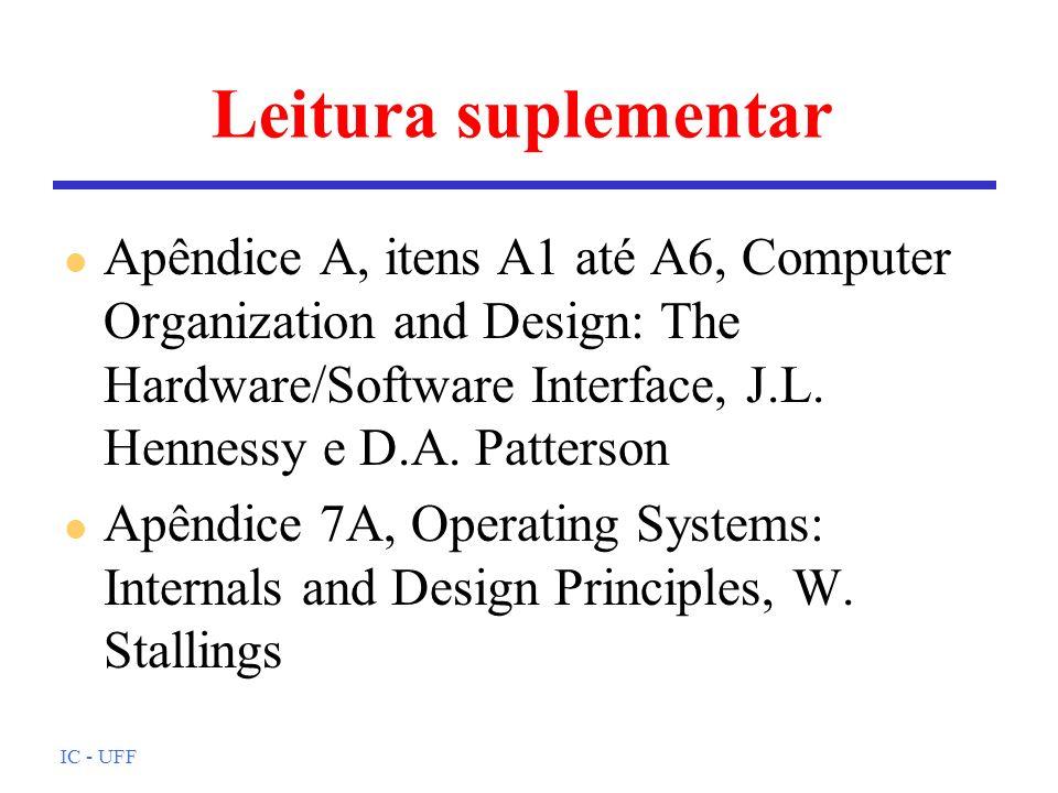 IC - UFF Leitura suplementar l Apêndice A, itens A1 até A6, Computer Organization and Design: The Hardware/Software Interface, J.L. Hennessy e D.A. Pa