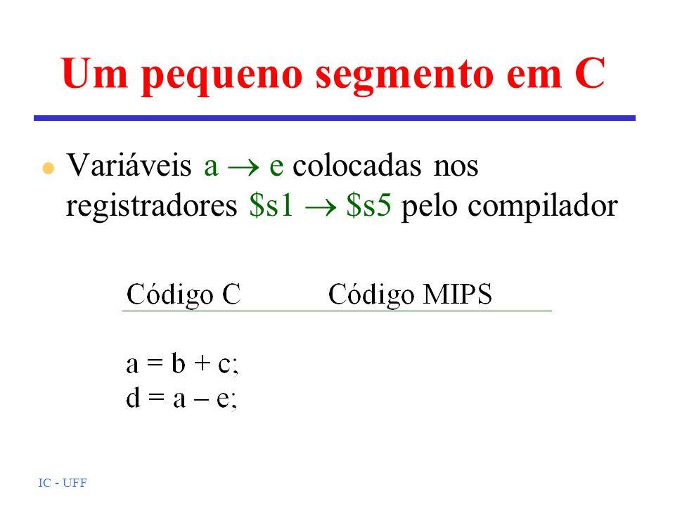 IC - UFF Um pequeno segmento em C l Variáveis a e colocadas nos registradores $s1 $s5 pelo compilador